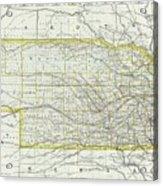 Vintage Map Of Nebraska - 1889 Acrylic Print