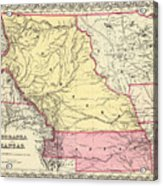 Vintage Map Of Nebraska And Kansas - 1856 Acrylic Print