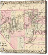 Vintage Map Of Nevada And Utah - 1880 Acrylic Print