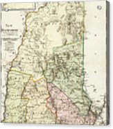 Vintage Map Of New Hampshire - 1796 Acrylic Print