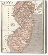 Vintage Map Of New Jersey - 1845 Acrylic Print
