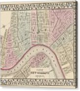 Vintage Map Of New Orleans - 1880 Acrylic Print