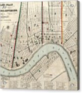 Vintage Map Of New Orleans Louisiana - 1845 Acrylic Print