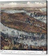 Vintage Map Of New York And Brooklyn Circa 1875 Acrylic Print