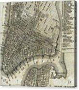 Vintage Map Of New York City - 1842 Acrylic Print