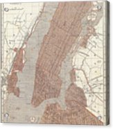 Vintage Map Of New York City - 1845 Acrylic Print