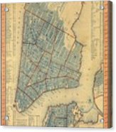 Vintage Map Of New York City - 1846 Acrylic Print