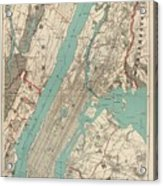 Vintage Map Of New York City - 1890 Acrylic Print