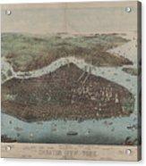 Vintage Map Of New York City - 1905 Acrylic Print
