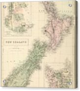 Vintage Map Of New Zealand - 1854 Acrylic Print