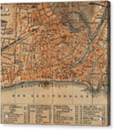 Vintage Map Of Nice France - 1914 Acrylic Print