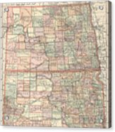 Vintage Map Of North And South Dakota - 1891 Acrylic Print