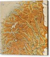 Vintage Map Of Norway - 1914 Acrylic Print
