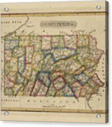 Antique Map Of Pennsylvania Acrylic Print