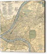 Vintage Map Of Pittsburgh Pa - 1891 Acrylic Print