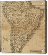 Vintage Map Of South America - 1825 Acrylic Print