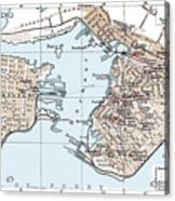 Vintage Map Of St. John New Brunswick - 1894 Acrylic Print