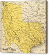 Vintage Map Of Texas - 1847 Acrylic Print