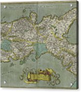 Vintage Map Of The Kingdom Of Naples - 1608 Acrylic Print