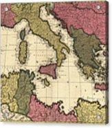 Vintage Map Of The Mediterranean - 1695 Acrylic Print