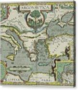 Vintage Map Of The Mediterranean Sea - 1608 Acrylic Print