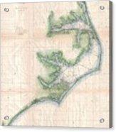 Vintage Map Of The North Carolina Coast  Acrylic Print