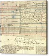 Vintage Map Of The Nyc Railways  Acrylic Print