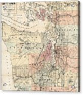 Vintage Map Of The Puget Sound - 1891 Acrylic Print