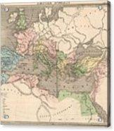 Vintage Map Of The Roman Empire - 1838 Acrylic Print
