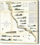 Vintage Map Of The U.s. West Coast - 1853 Acrylic Print