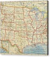 Vintage Map Of United States, 1883 Acrylic Print