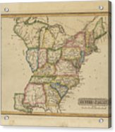 Antique Map Of United States Acrylic Print