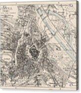 Vintage Map Of Vienna Austria - 1906 Acrylic Print