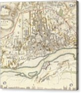 Vintage Map Of Warsaw Poland - 1831 Acrylic Print
