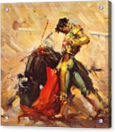 Vintage Mexico Bullfight Travel Poster Acrylic Print
