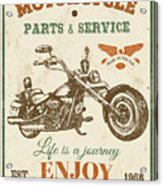 Vintage Motorcycling Mancave-c Acrylic Print