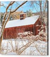 Vintage New England Barn Portrait Acrylic Print by Bill Wakeley