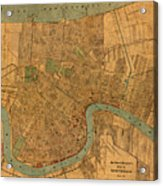 Vintage New Orleans Louisiana Street Map 1919 Retro Cartography Print On Worn Canvas Acrylic Print