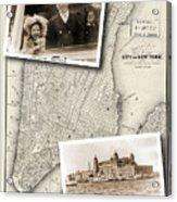 Vintage New York Map With Ellis Island Acrylic Print