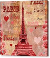 Vintage Paris And Roses Acrylic Print
