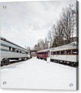 Vintage Passenger Train Cars In Winter Acrylic Print