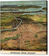 Vintage Pictorial Map Of Newark Nj - 1916 Acrylic Print