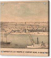 Vintage Pictorial Map Of Newport News Va - 1862 Acrylic Print