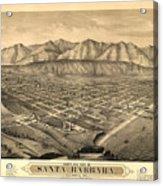 Vintage Pictorial Map Of Santa Barbara Ca - 1877 Acrylic Print