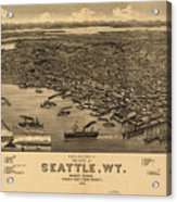 Vintage Pictorial Map Of Seattle - 1884 Acrylic Print