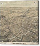 Vintage Pictorial Map Of St. Thomas Ontario - 1875  Acrylic Print