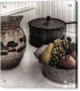 Vintage Pitcher, Pan, And Fruit Bowl Acrylic Print