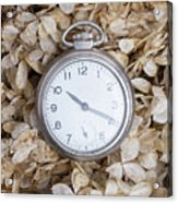Vintage Pocket Watch Over Dried Flowers Acrylic Print