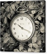 Vintage Pocket Watch Over Flowers Acrylic Print