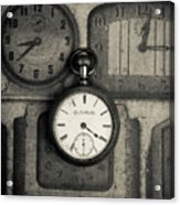 Vintage Pocket Watch Over Old Clocks Acrylic Print